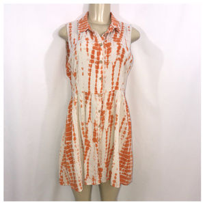 Orange & Cream Button Down Dress Junior Large
